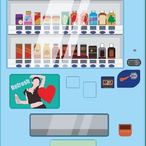 休憩時間に自販機で缶ジュースを買っている作業員のイラスト