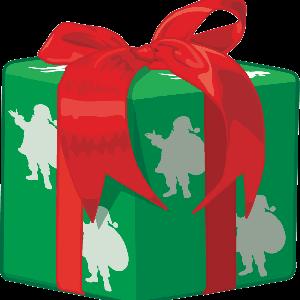 赤いリボンとサンタ柄の包装紙に包まれたクリスマスプレゼントのイラスト