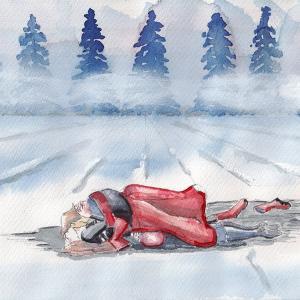 ドローイング374. 小説:小樽の翆303. 雪原の青姦
