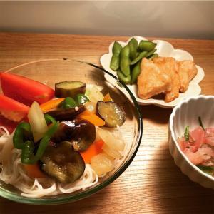 夏野菜焼き浸し素麺 と 3月のライオン