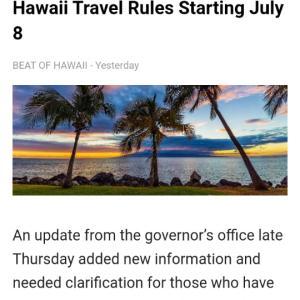アメリカ国内の旅行者、7月8日からのハワイ州の旅行の新しいルール(Beat of Hawaii)