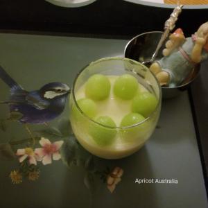 Vanilla bean Panna Cotta with Organic Honeydew m