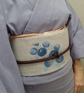 綿ちりめんと万寿菊の麻帯で