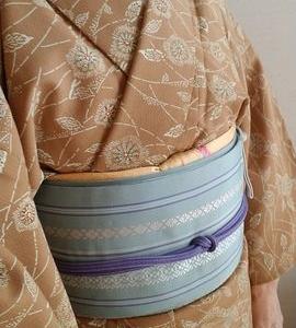 単衣更紗と博多八寸帯、からの自作半幅帯で