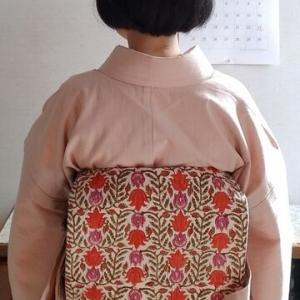 デニム着物と自作更紗名古屋帯で