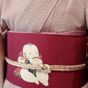 兎の江戸小紋と笛吹童子帯で