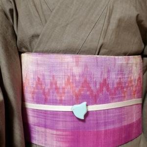 デニム着物とタイシルクの半幅帯で