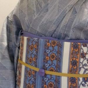 ウールと自作更紗半幅帯