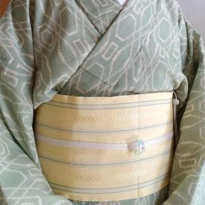 レトロな夏着物と単衣の博多半幅で