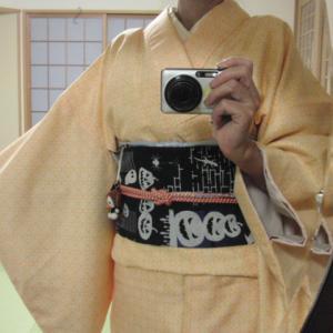 自作の着せ替え作り帯でハロウィン着物コーデ♪