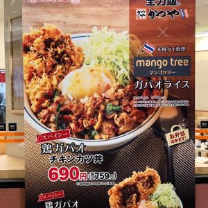 初・かつやで「スパイシー鶏ガパオチキンカツ丼」