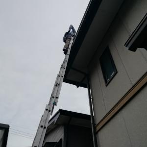 雨樋のつまりで流れ落ちる雨音騒音はご近所迷惑~~;簡単に思えても危険な作業なので慣れたプロに頼むのが一番楽で安いかも。我が家は2階と下屋の雨どいの詰まり掃除で6,000円でした(~o~)♪