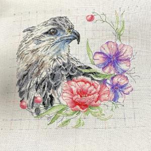 【完成】Eagle with flowers