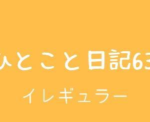 ひとこと日記63(イレギュラー)