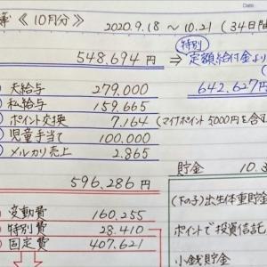 家計簿《10月分》と変動費の内訳