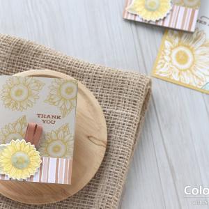 【カンタン・色塗り&ダイカット(代用可)】小さなヒマワリでササッと作るミニカード