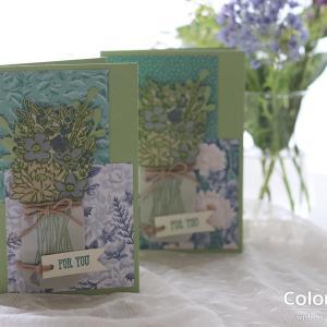 【パンチ&色塗り(ダイカットマシン不要)】ジャーをシンプルに使う、お花生けのカード