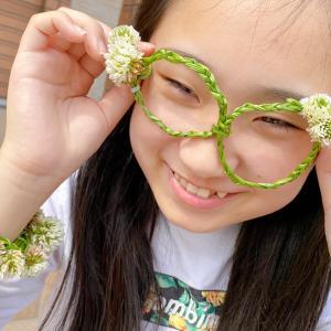 【草花あそび】子供とシロツメクサでメガネを作ったよ
