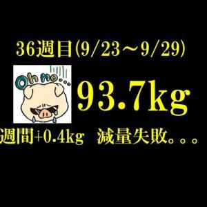 【ブログ公開ダイエット】252日目(2019年9月29日)&36週目結果93.7(週間+0.4)kg 最終日、痛恨の会食。。。
