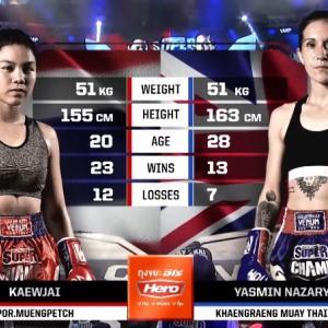 ケオチャイ VS ヤスミン・ナザリー 51kg契約 3回戦 ノーカット動画 Muay Thai Super Champ ムエタイ女子