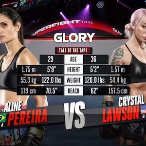 アリーニ・ペレイラ VS クリスタル・ローソン 結果&ノーカット動画 GLORY 72 Chicago キックボクシング女子