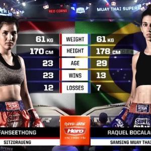 ファーシートン VS ラクウェル・ボカラオ 61kg契約 3回戦 ノーカット動画 Muay Thai Super Champ ムエタイ女子