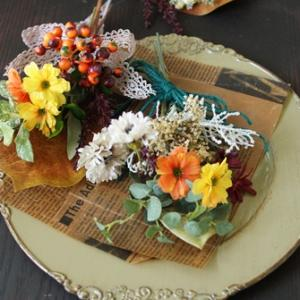 【月いち花屋】ミニスワッグ初秋バージョンです。