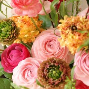 【今日の贈花】ラナンキュラスと春の枝♪