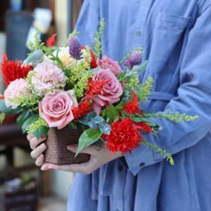 【生徒様の作品】秋色のお花で・・・♪