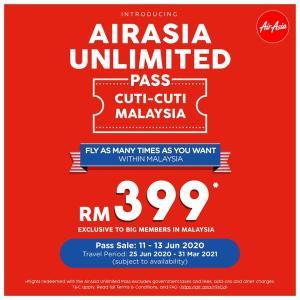 [速報]AirAsia国内線乗り放題パスRM399 ※6/11〜6/13発売、6/25〜3/31搭乗