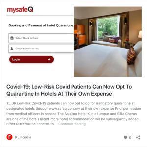 低リスクのCovid患者が自費でホテル隔離を選択可能に