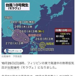 台風18号(モラヴェ)発生