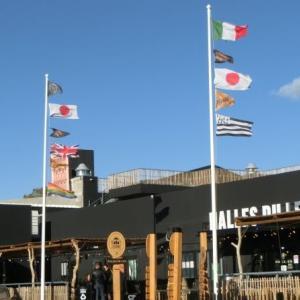 モンペリエの屋台村、日本の旗も出ています