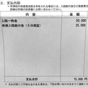 妊娠糖尿病の入院で給付金75,000円もらえました♪