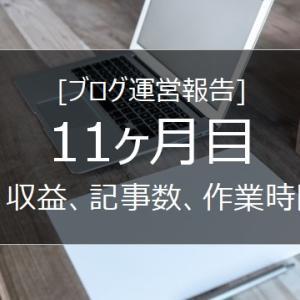 【ブログ運営】11ヵ月目のPV、収益、作業時間、記事数は!?