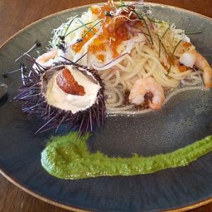 【優待ご飯】一家ダイニングプロジェクト (9266)の「Terrace Dining TANGO」で「生雲丹とイクラの冷製パスタ~雲丹殻フランを添えて~」を食べてきました♪