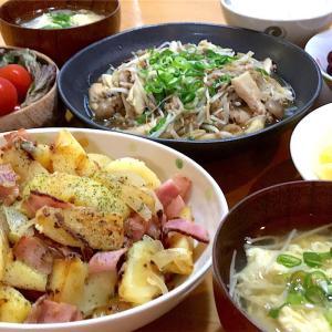 きのこともやし挽肉炒め&ジャーマンポテト~きのこは繊維質多めわが家のお助け食材~