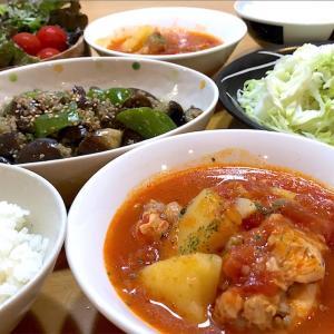 【おかずスープ】手羽元ほろほろトマトスープとナスとピーマンの味噌炒め【簡単レシピ】