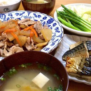 【豚こまと大根の甘辛炒め】焼塩サバと温野菜と~待ちきれない新しい家族~