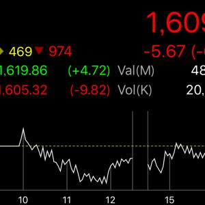 続落でまたもや1,600bahtが見えてきたタイ株SET指数