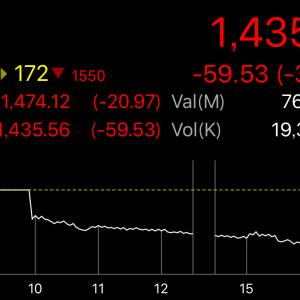 【タイ株】3.98%下落って、私何か悪いことしました?恨みでもあるんでしょうか?