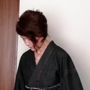 家着物~デニムの着物に柄半衿と絞りの半巾帯&髪のこと