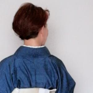 無地の単衣紬に麻帯、「からむし」の名古屋帯初体験