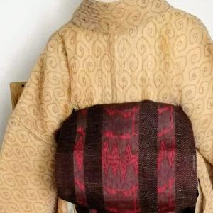 手直しした小千谷縮に名古屋帯と半巾帯、麻コ―デ