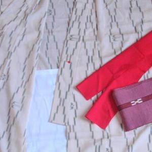紗の対丈着物、琉装と指笛~ボランティアの準備
