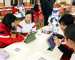 ロボット操作 楽しい 射水・下村小でプログラミング教室