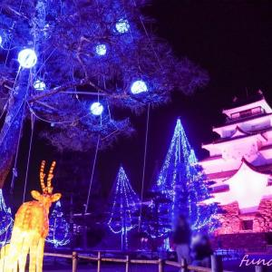 一週間の疲れを癒す、会津鶴ヶ城のキラキラ写真。「アイヅテラス」雪吊りイルミネーション&プロジェクションマッピングレポ✨
