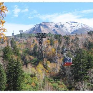 紅葉の見頃を過ぎた大雪山旭岳と見えない駒止の滝