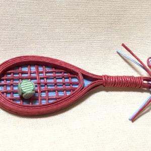 テニスラケット&ボール【紙バンド・エコクラフト手芸】