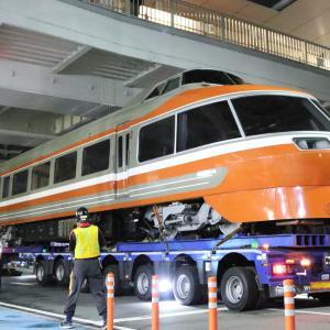 小田急ロマンスカー7000形LSE ロマンスカーミュージアム搬入で陸送